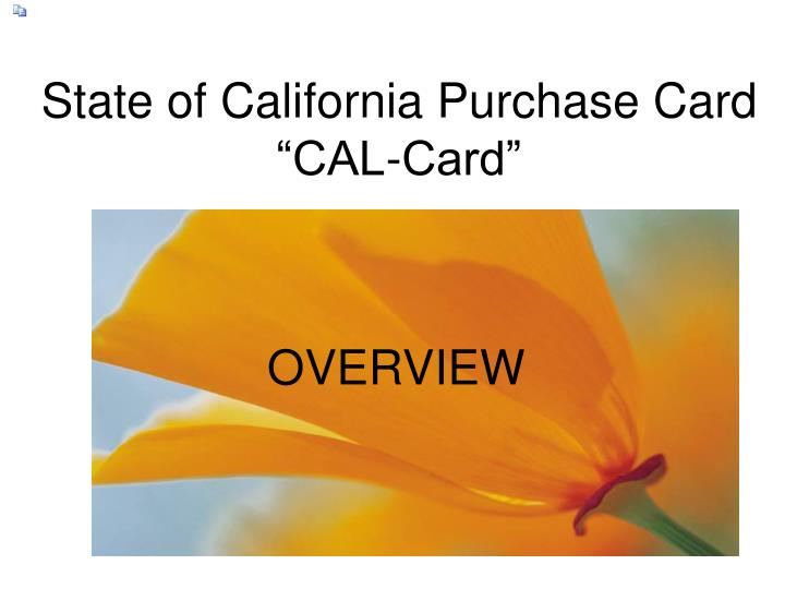 State of california purchase card cal card