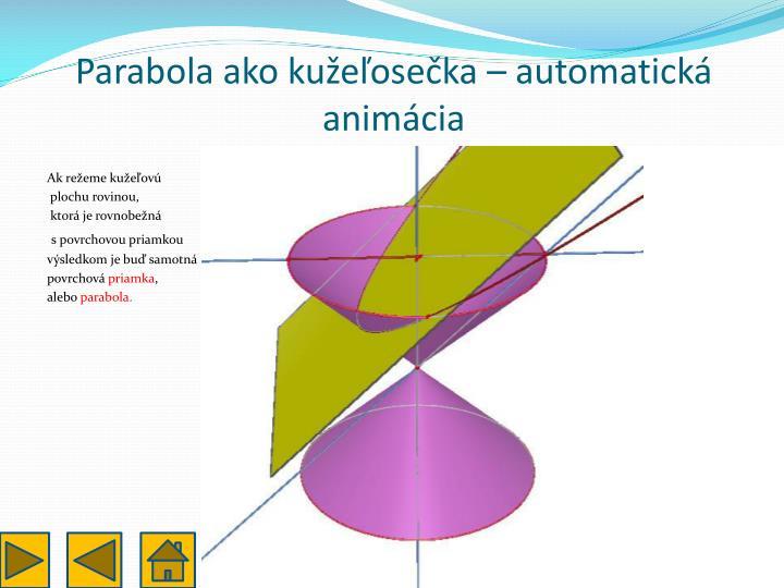 Parabola ako kužeľosečka – automatická animácia