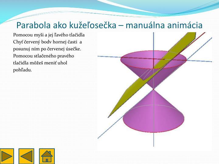 Parabola ako kužeľosečka – manuálna animácia