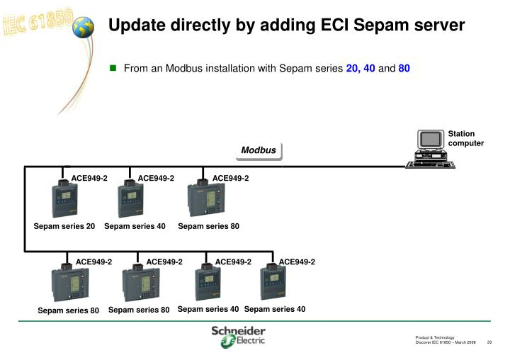 Update directly by adding ECI Sepam server