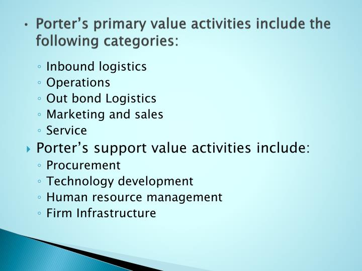 Porter's primary value activities include the following categories: