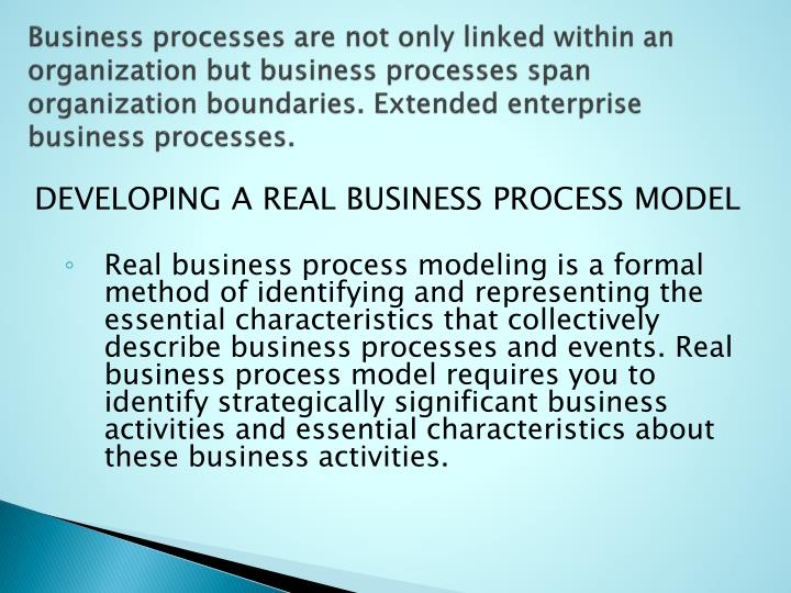 Business processes are not only linked within an organization but business processes span organization boundaries. Extended enterprise business processes.