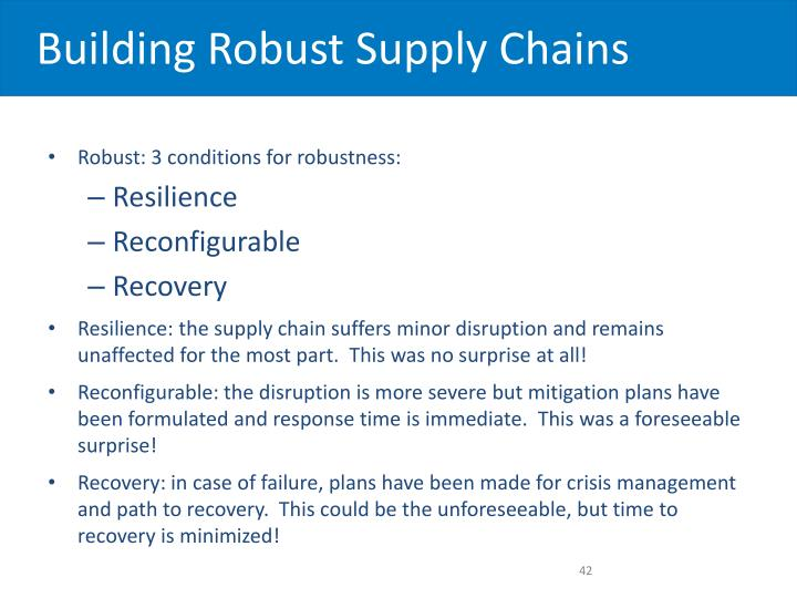 Building Robust Supply Chains
