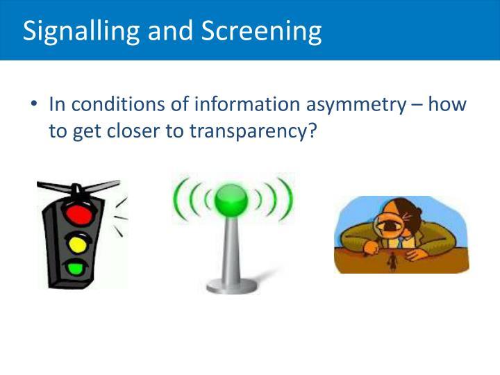 Signalling and Screening