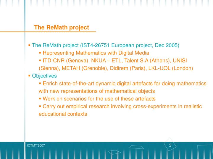 The ReMath project