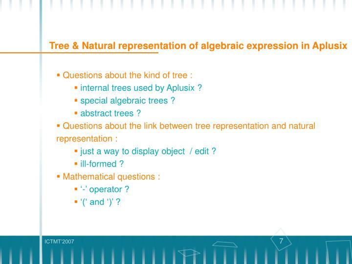Tree & Natural representation of algebraic expression in Aplusix