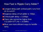 how fast is ripple carry adder