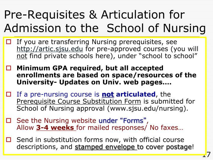 Pre-Requisites & Articulation for Admission to the  School of Nursing