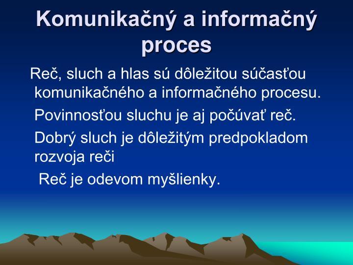 Komunikačný a informačný proces