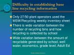 difficulty in establishing base line recycling information1