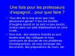 une liste pour les professeurs d espagnol pour quoi faire