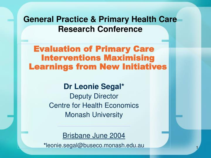PPT - General Practice & Primary Health Care Research ...
