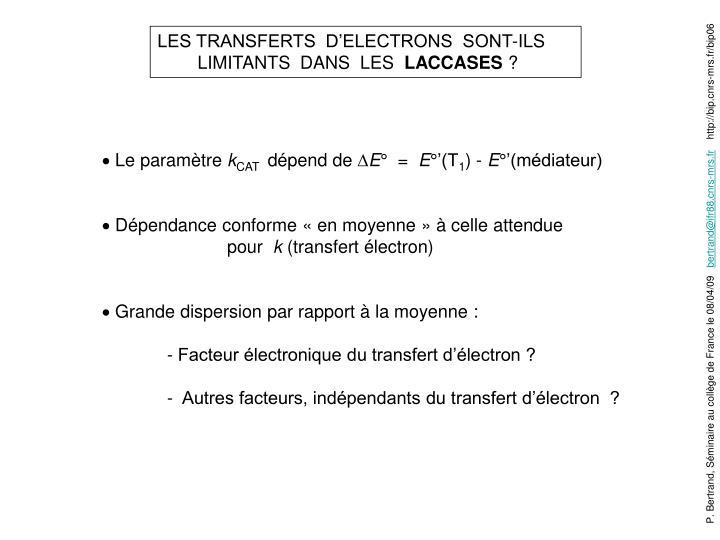 LES TRANSFERTS  D'ELECTRONS  SONT-ILS