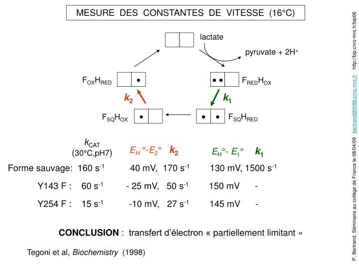 MESURE  DES  CONSTANTES  DE  VITESSE  (16°C)
