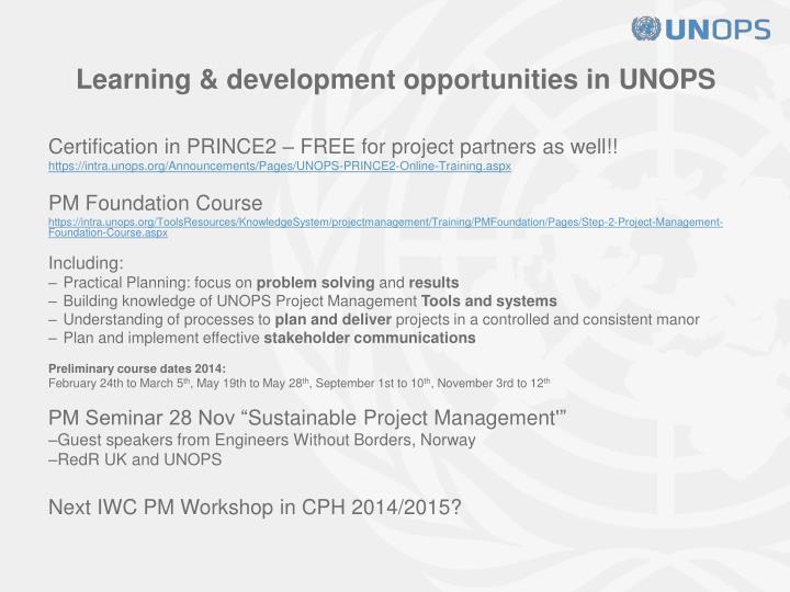 Learning & development opportunities in