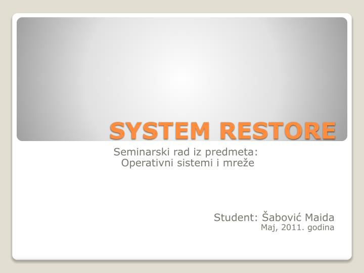 system restore n.