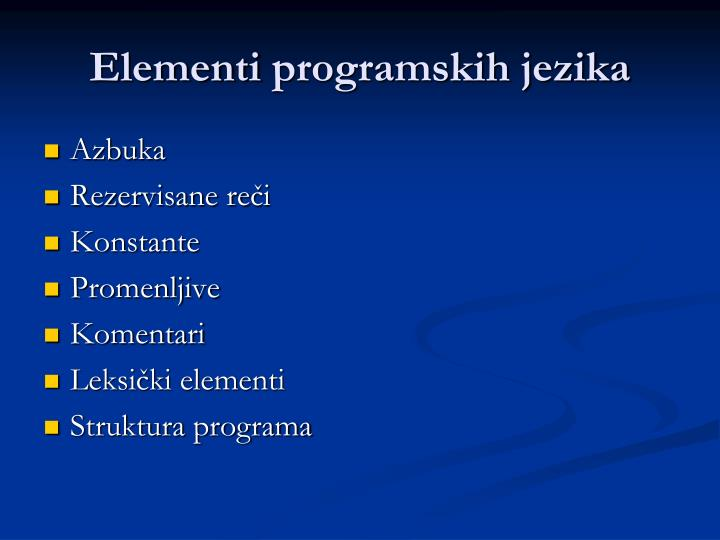 Elementi programskih jezika