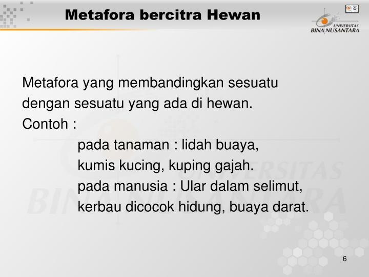 Metafora bercitra Hewan