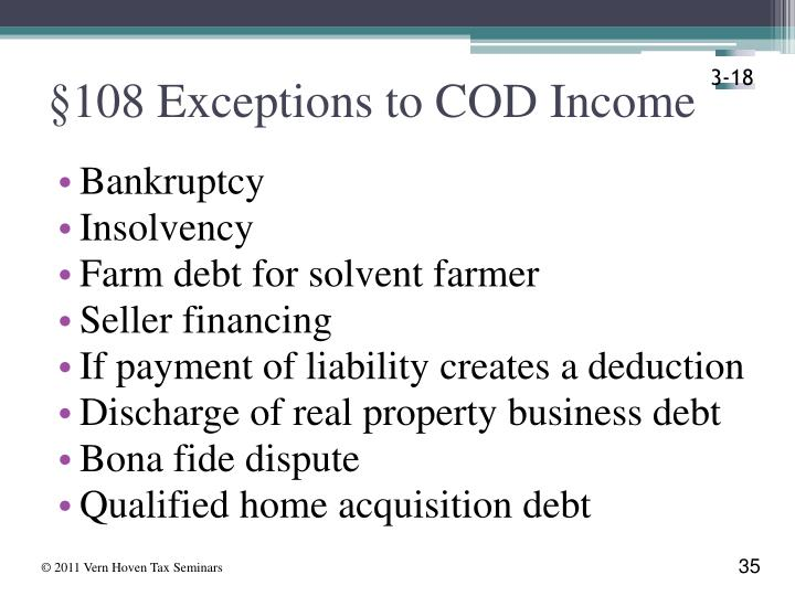 §108 Exceptions to COD Income