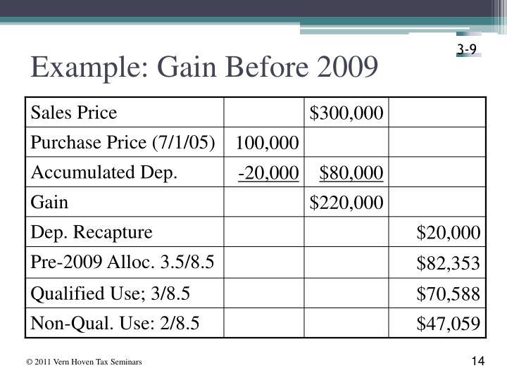 Example: Gain Before 2009