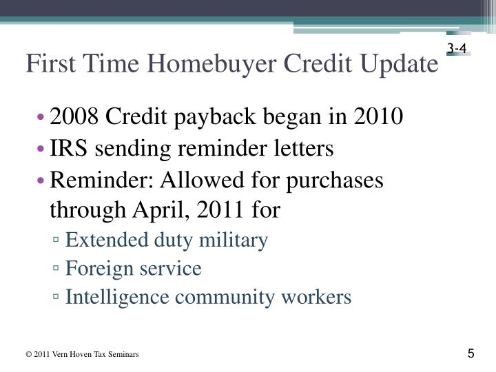 First Time Homebuyer Credit Update