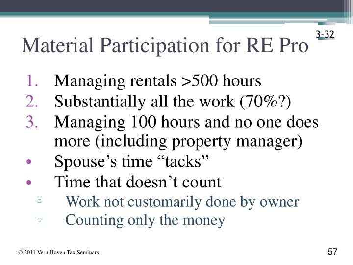 Material Participation for RE Pro