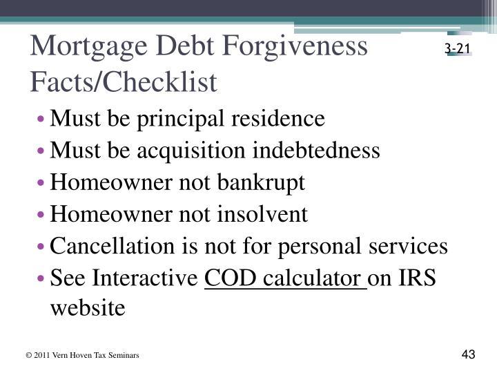 Mortgage Debt Forgiveness Facts/Checklist