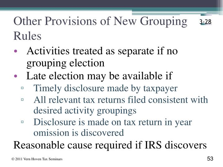 Other Provisions of New Grouping  Rules
