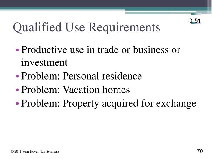 Qualified Use Requirements
