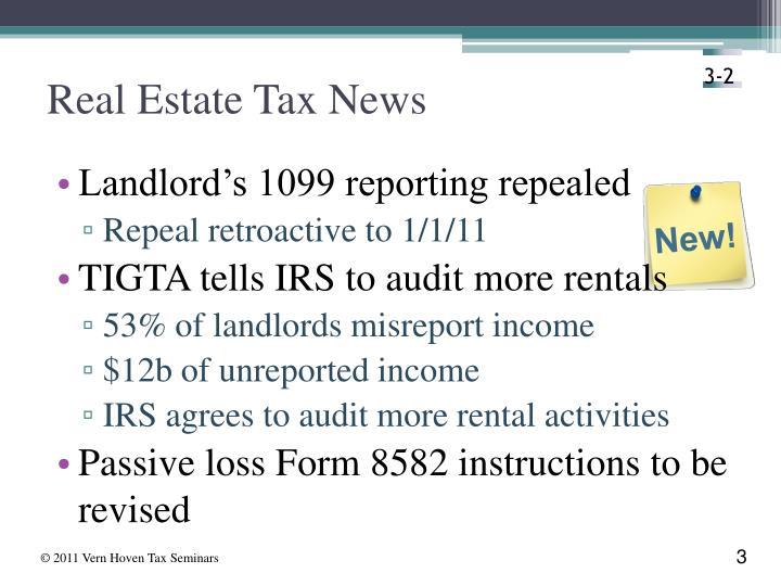 Real estate tax news