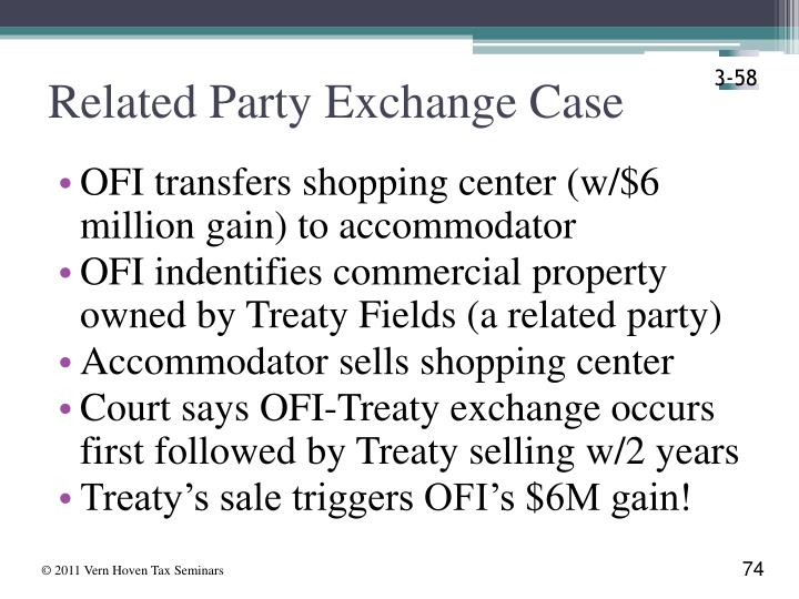 Related Party Exchange Case