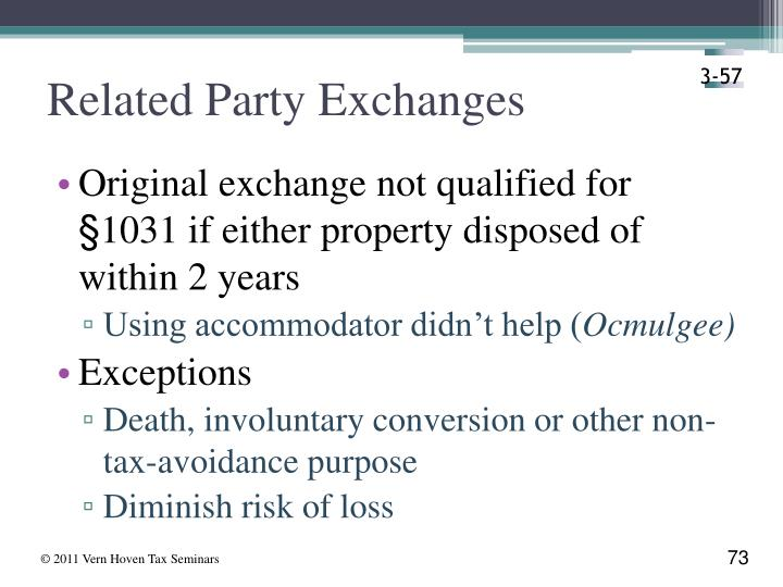 Related Party Exchanges