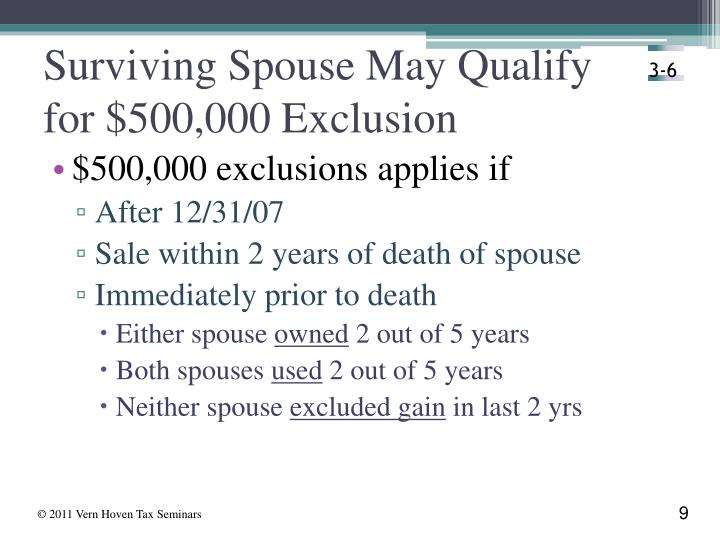 Surviving Spouse May Qualify for $500,000 Exclusion