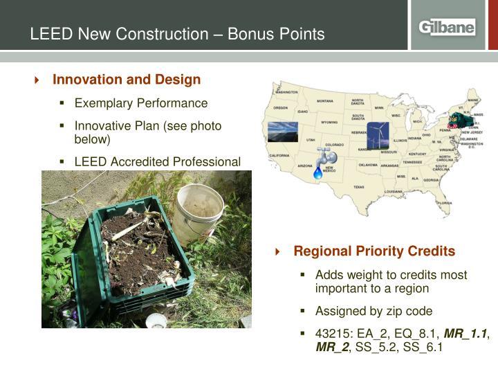 LEED New Construction – Bonus Points