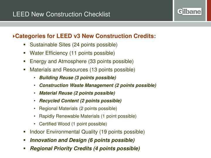 LEED New Construction Checklist