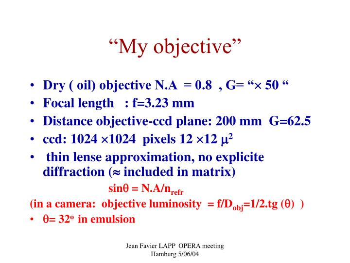 """""""My objective"""""""