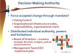 decision making authority