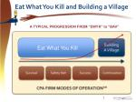 eat what you kill and building a village