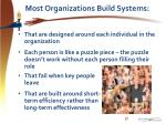 most organizations build systems