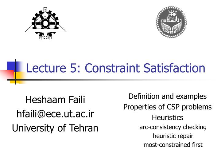 lecture 5 constraint satisfaction n.