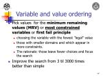 variable and value ordering