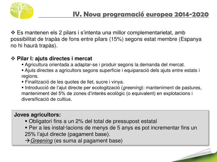 IV. Nova programació europea 2014-2020