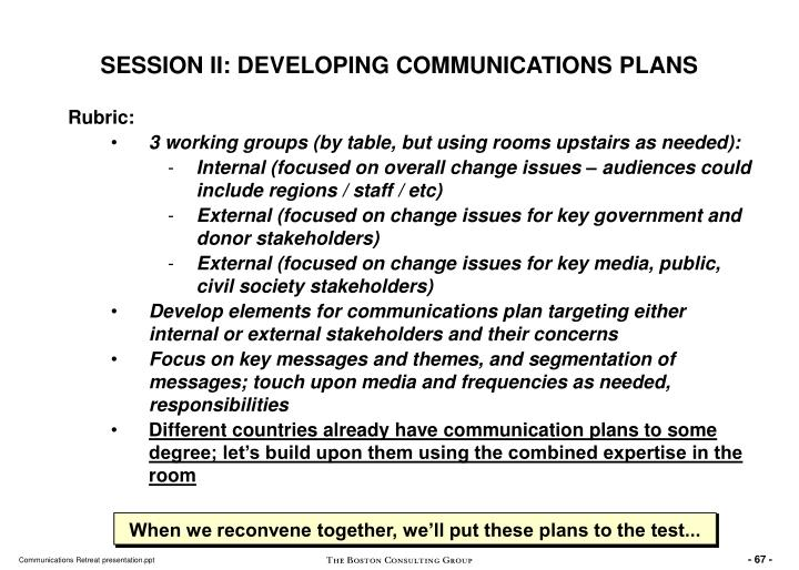 SESSION II: DEVELOPING COMMUNICATIONS PLANS