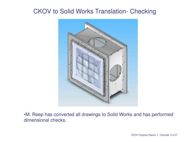 CKOV to Solid Works Translation- Checking
