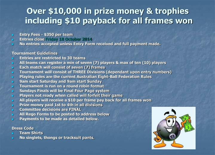 Over 10 000 in prize money trophies including 10 payback for all frames won