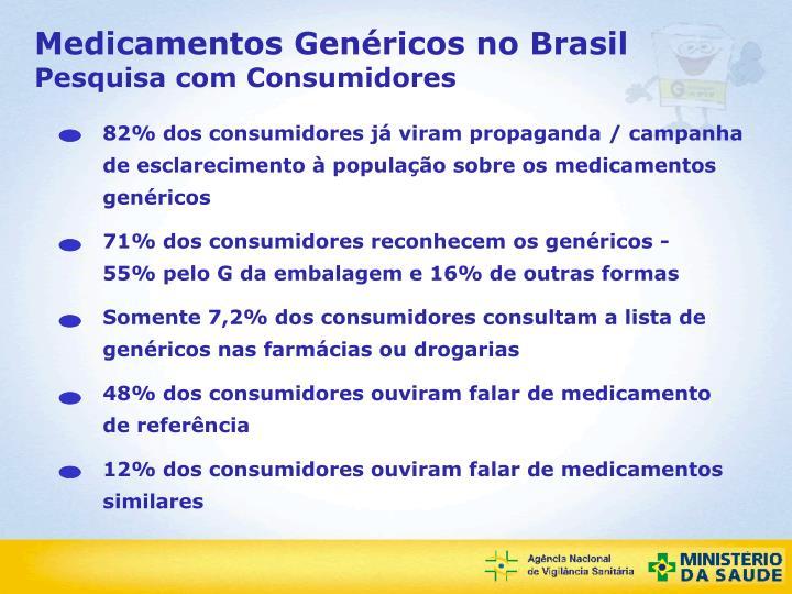 82% dos consumidores já viram propaganda / campanha de esclarecimento à população sobre os medicamentos genéricos
