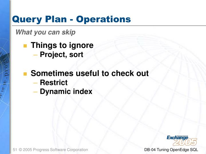 Query Plan - Operations