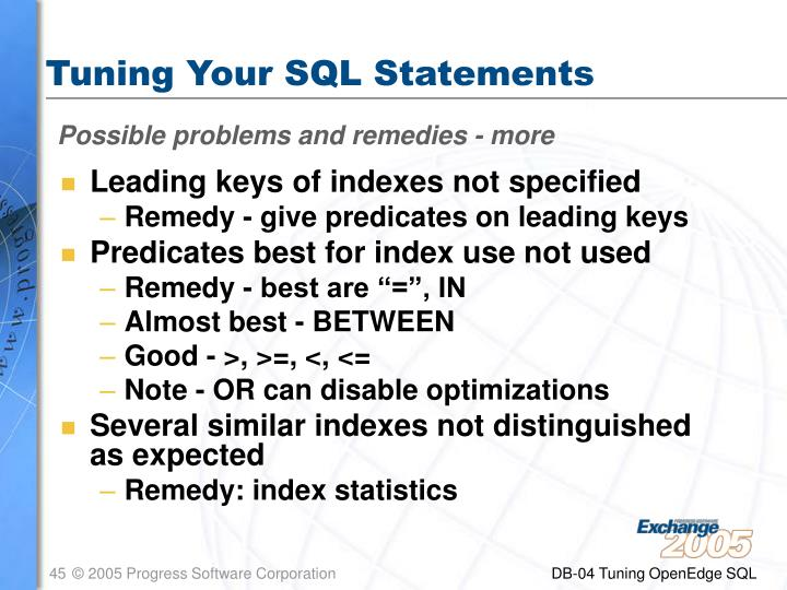Tuning Your SQL Statements