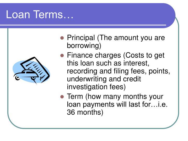Loan Terms…