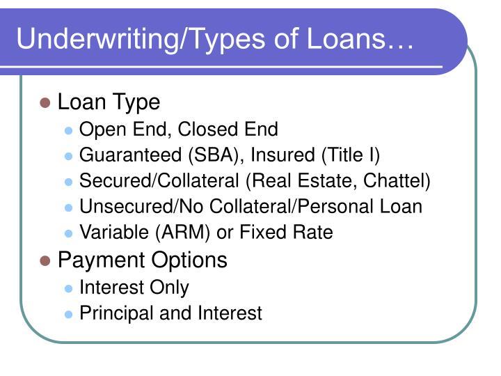 Underwriting/Types of Loans…